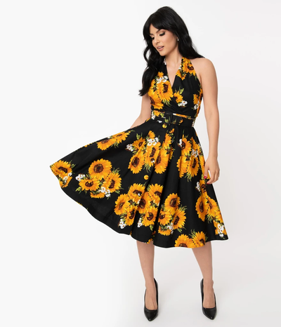 unique vintage tarrytown hostess dress black sunflower