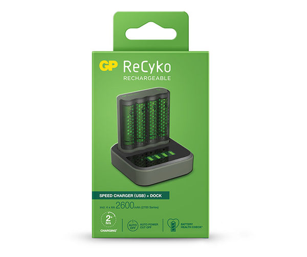 GP ReCyko Speed Charger Dock (USB) D451 and Speed Charger (USB) M451 with 4 x AA 2,600mAh (2700 Series) NiMH Batteries