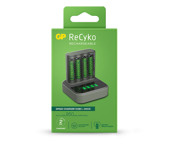 GP ReCyko Speed Charger Dock (USB) D451 and Speed Charger (USB) M451 with 4 x AAA 950mAh (1000 Series) NiMH Batteries