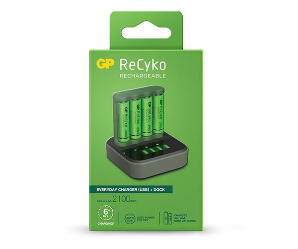 GP ReCyko Speed Charger Dock (USB) D451 and Everyday Charger (USB) B421 with 4 x AA 2,100mAh NiMH Batteries