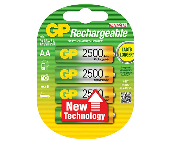 GP Rechargeable NiMH 2500 Series AA 2450mAh