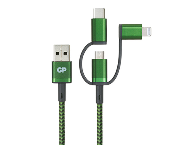 3-in-1 USB-C, Lightning & Micro-USB Cable CY1A 1M