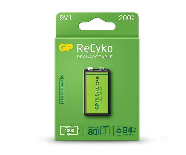 GP ReCyko battery 200mAh 9V (1 battery pack)