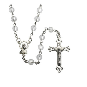 Clear Round Pressed Glass Rosary - A Lost Sheep Catholic Store