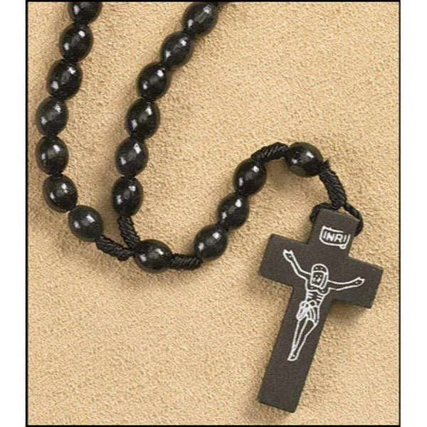 Wood Cord Rosary - Black - A Lost Sheep Catholic Store