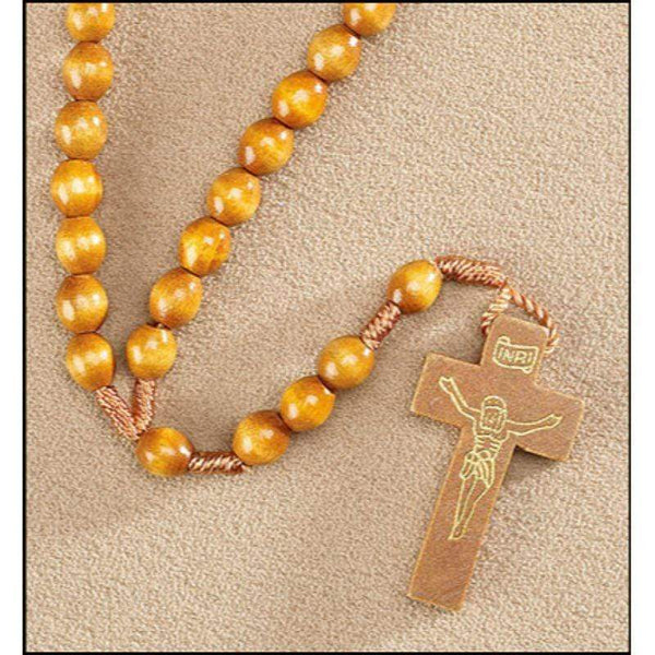 Wood Cord Rosary - Light Brown - A Lost Sheep Catholic Store