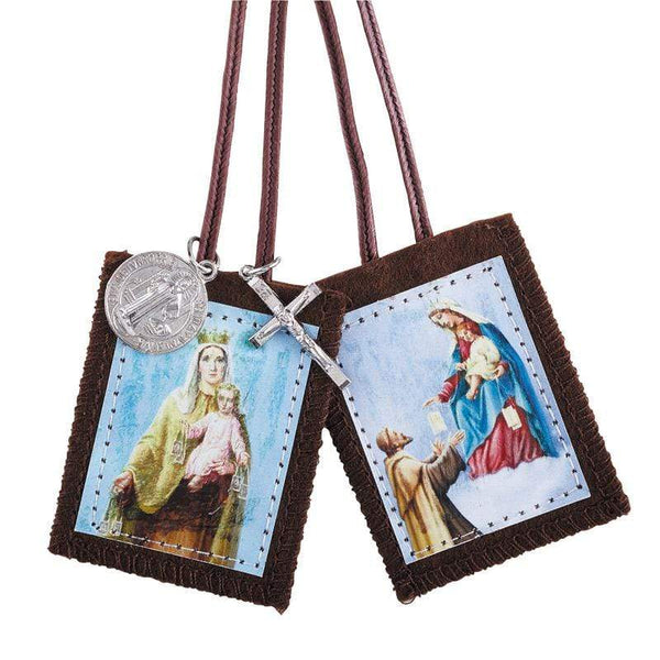 Our Lady of Mt. Carmel/St. Simon Stock Scapular with Medals - A Lost Sheep Catholic Store