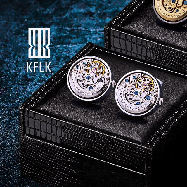 KFLK Jewelry Shirts Cufflinks for Men's Brand Watch Movement Mechanical Big Cuff links Button Male High Quality  guests