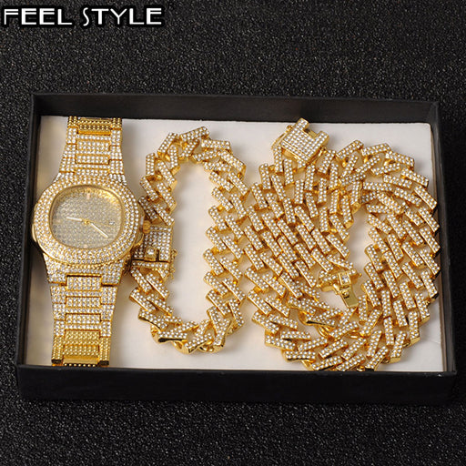Watch +Chain+Bracelet Hip Hop Bling Iced Out Crystal 15MM Cuban Paved Rhinestone Miami Zircon Men's Necklaces choker Jewelry