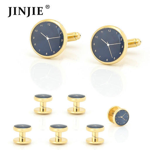 Best New Design Wedding Tuxedo 6 Cuff Studs and Gold with Blue Watch Cufflinks Gift Set for Men French Shirt Men's Jewelry
