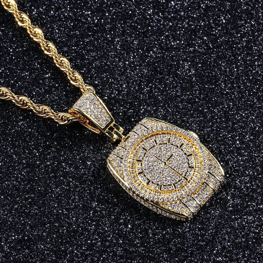 Men's Hip Hop Jewelry AAA CZ Stones Bling Iced Out Watch Shape Pendant Necklace Fashion Clock Crystal Jewelry Accessories