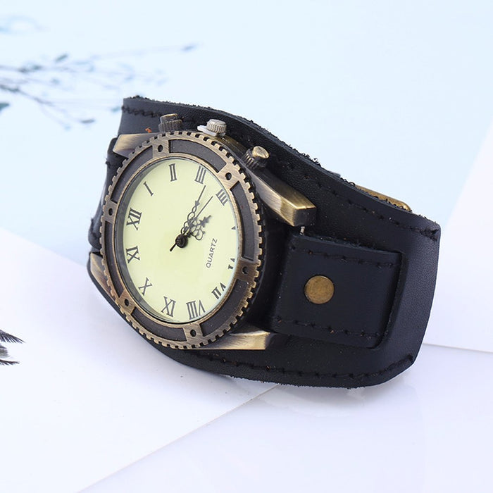 Punk Retro Alloy Accessories Wide Leather Watch Bracelet Wild Fashion Men's Hip Hop Trend Street Shooting Holiday Gift Jewelry