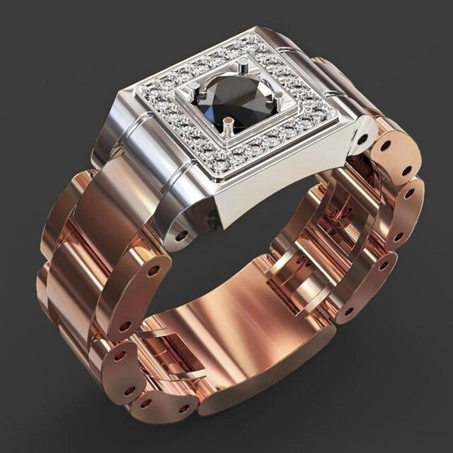 PINKSEE Party Men's Jewelry Creative Watch Shaped Rhinestone Rings Retro Zircon Finger Rings Jewelry Gift