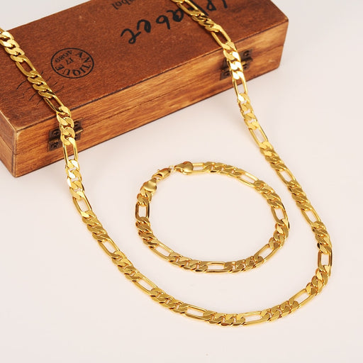 Fashion 18 K Yellow Gold Filled Men's OR Women's Trendy Bracelet 21cm Necklace Set Figaro Chain Watch Link