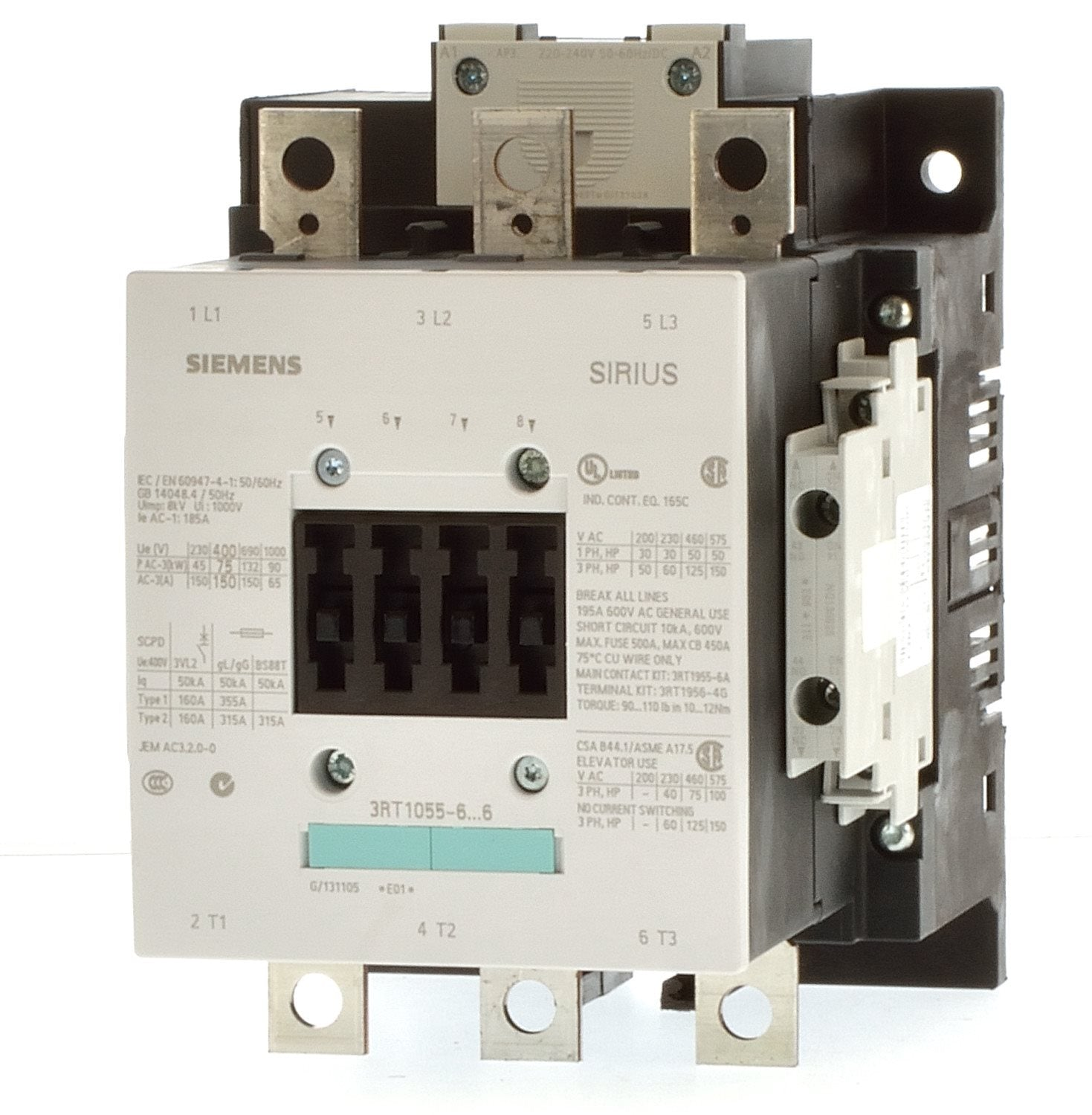 3rt Large Contactors Siemens Sirius Wiring Diagram For 120v Coil Contactor 3rt1055 66