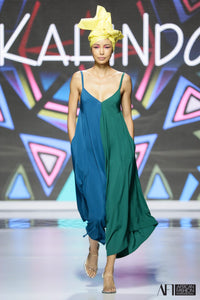 Blue and green color block boxy style jumpsuit as seen on runway