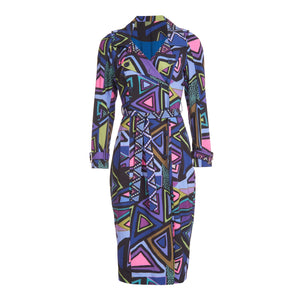 Multi print  trench coat with tie belt