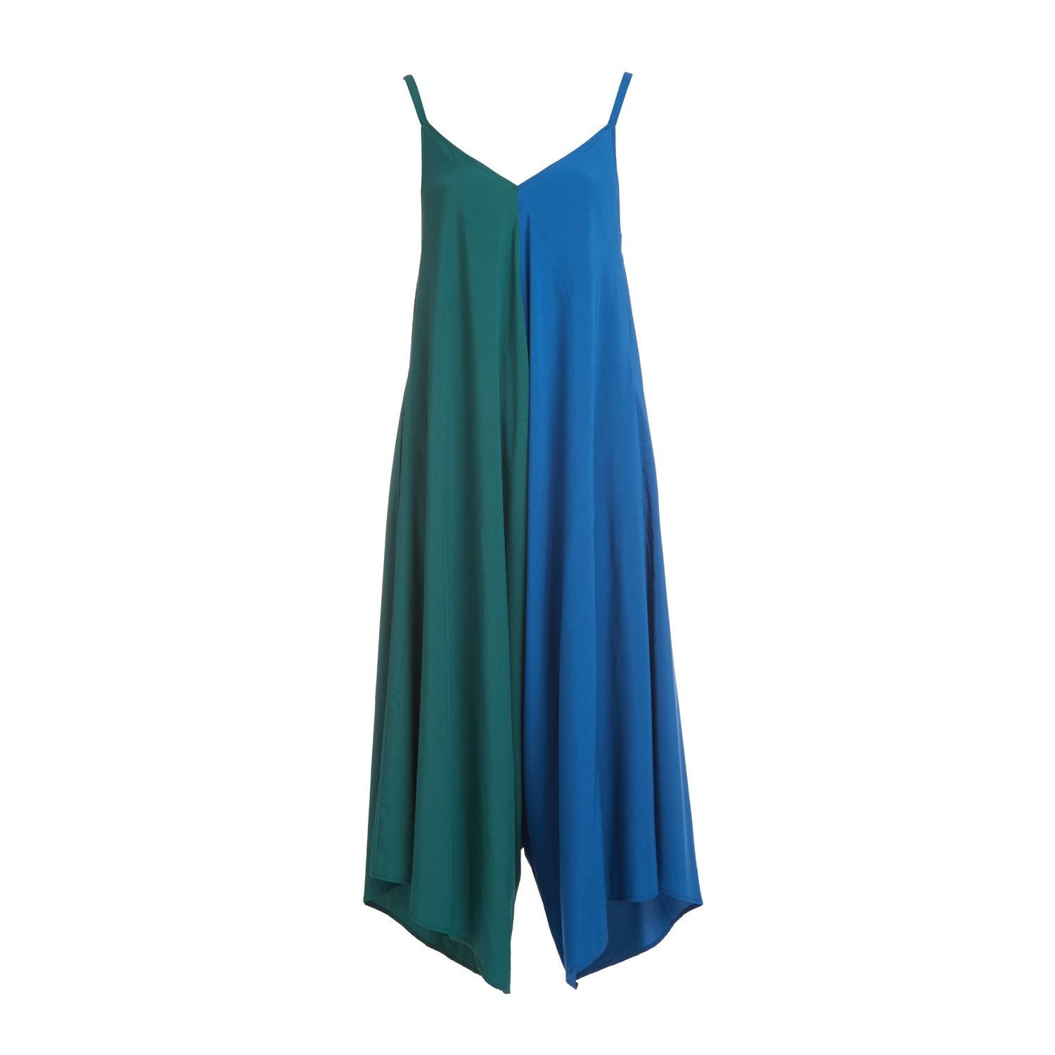 Blue and green color block boxy style jumpsuit