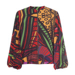 Load image into Gallery viewer, Red multi print bomber jacket with balloon sleeves and pockets