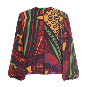Red multi print bomber jacket with balloon sleeves and pockets