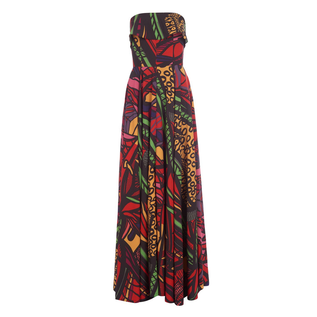 Red multi print strapless maxi dress with pockets