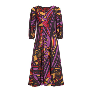 Red and purple original print V-neck dress with 3/4 balloon sleeves, midi length