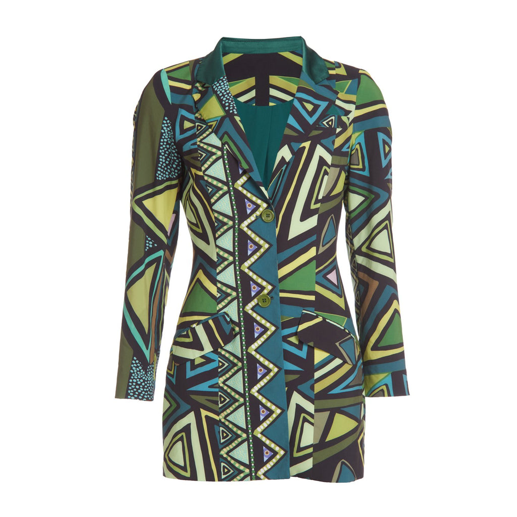 Green multi print tuxedo jacket with 2 front buttons