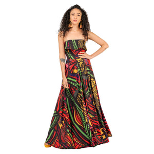 Red multi print strapless maxi dress with pockets as seen on model