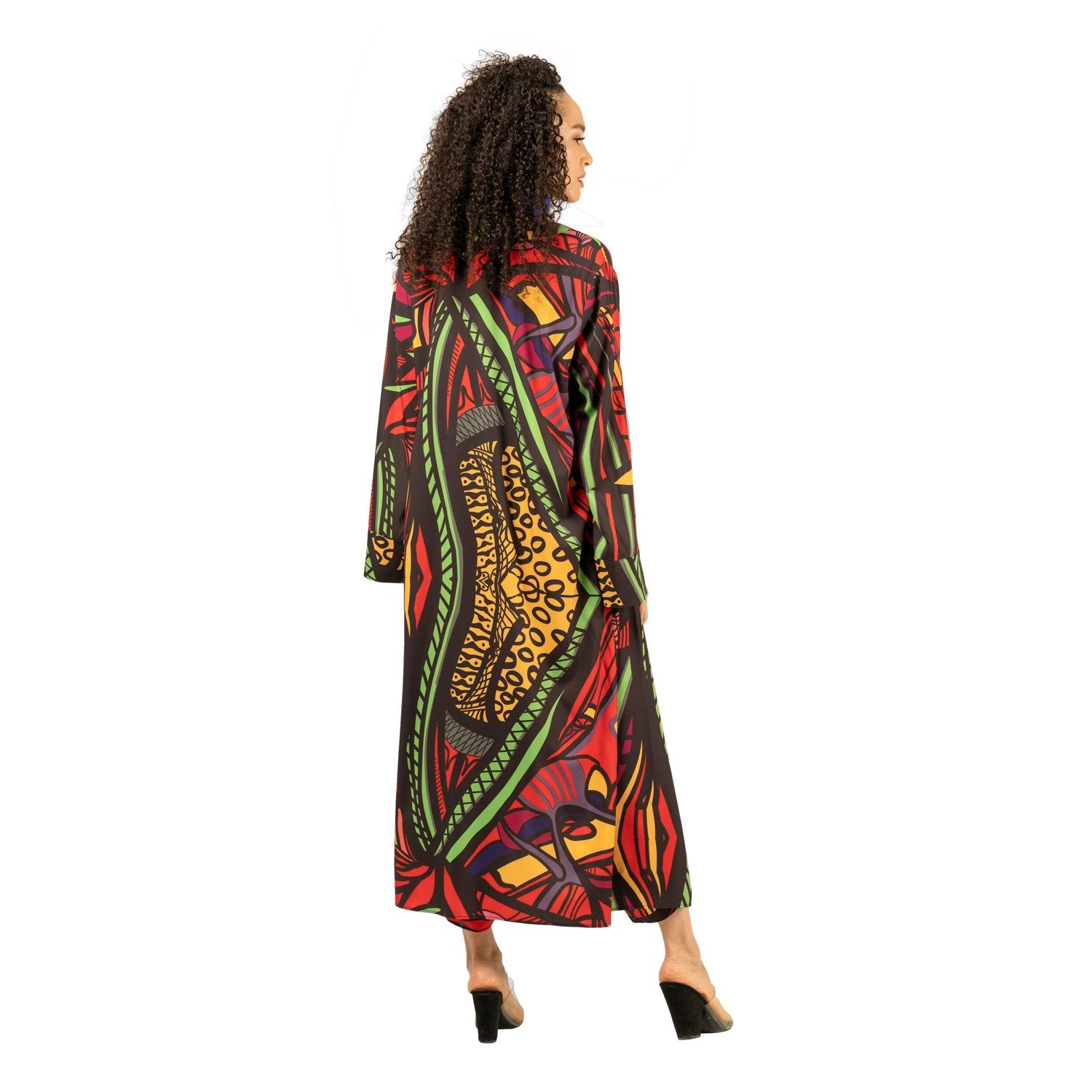 Back view of red multi print kimono duster with slit sleeves and pockets as worn on model