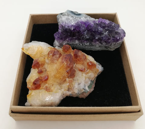 Amethyst & Citrine Rough Crystal Pair (Medium)