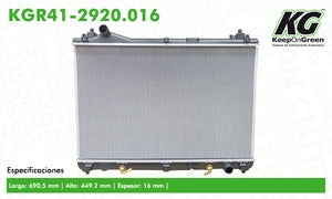 Radiador SZK GRAND VITARA L4 2.4L 2009-2013  part: KGR41-2920.016