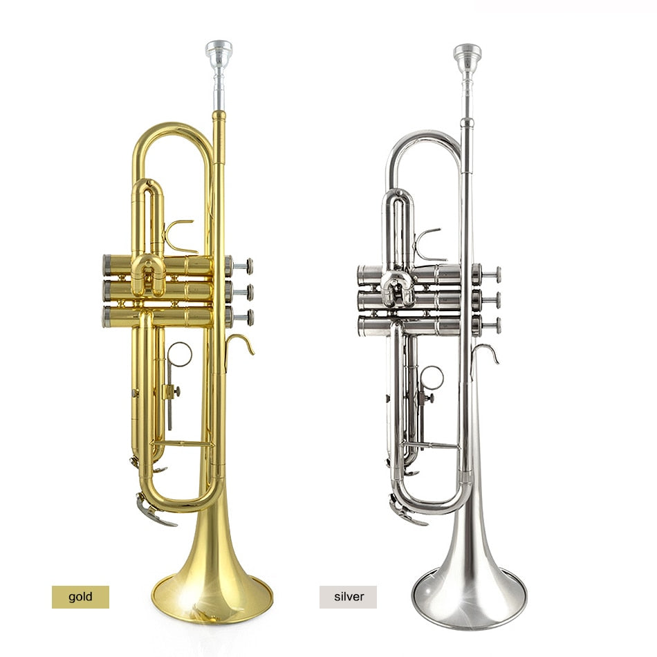 Trumpet Bb Flat Brass Exquisite with Mouthpiece Gloves Free Shipping Musical Instruments  JBTR-300