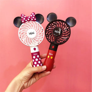 Mickey & Mini Creative Outdoor portable cartoon cute USB fan Student mini handheld fan with lithium battery rechargeable