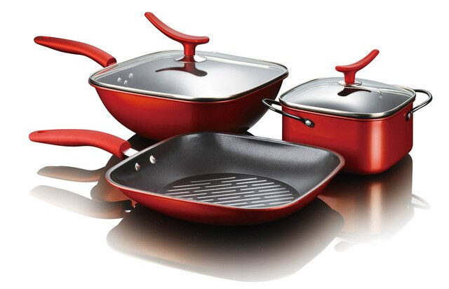 Square Shape Red Color Non-stick Iron Cookware Set Frying Pan Wok Soup Pot with 2 Covers Kitchen Pans and Pots Set Cooking Tools