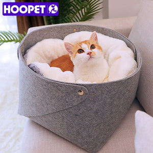 HOOPET Cat Basket Pet Dog Bed for Cat Warm Bed Dogs Houses for Cats Pets Products House for Cat Puppy Soft Comfortable House