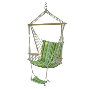 Portable Garden Hanging chair Cotton Rope Swings seat Hammock Swinging Wood Outdoor Indoor Swing Seat Hammc Chair with foot pad
