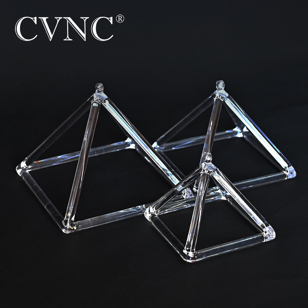 CVNC  3 inch for Sound Therapy  Clear Quartz Crystal Singing Pyramid Meditation