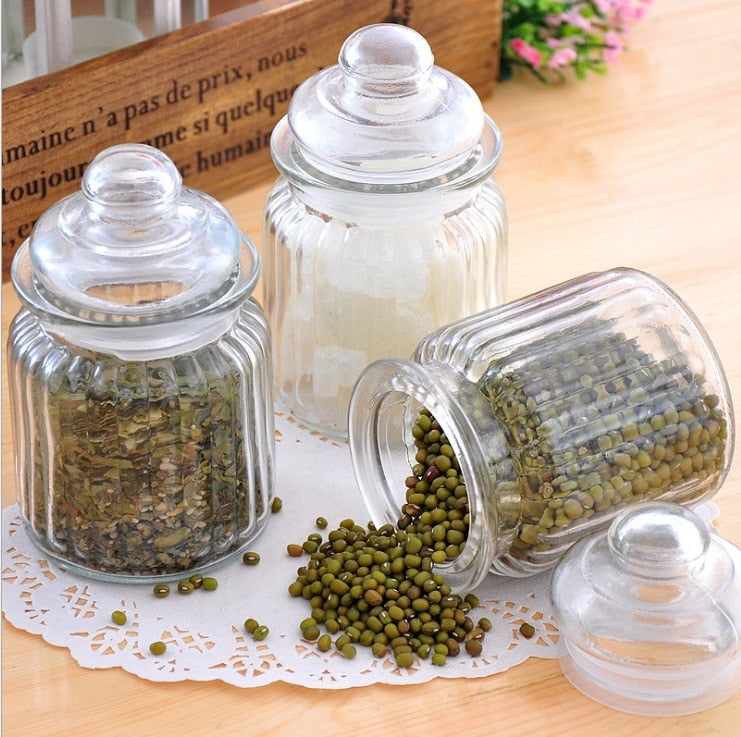 Old style glass storage box spice bottle tea organizer box home cruet kitchen candy coffee box