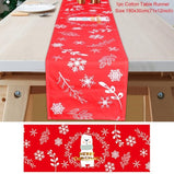 Christmas 2021 Red Linen Table Runner Merry Christmas Decoration For Home Table Christmas Decor Happy New Year
