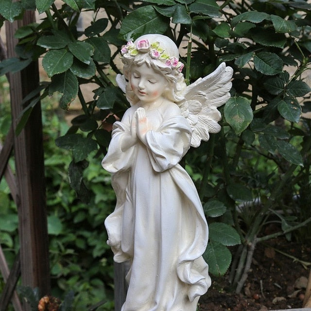 Outdoor Home Small Angel Fairy Sculpture Resin Ornaments Courtyard Desktop Figurines Accessories Art Character Garden Decoration