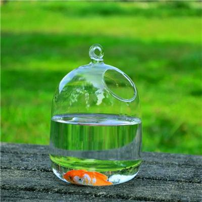 Clear 15cm Height Hanging Glass Aquarium Fish Bowl Fish Tank Flower Plant Vase With 23cm Height White Rack Fishbowls 2810