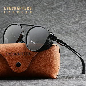 Eyecrafters Retro Round Polarized Sunglasses Steampunk Men Women Brand Designer Glasses Oculos De Sol Shades UV Protection