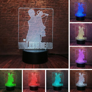 3D LED TV Drama The Walking Dead Action Figure Rick Daryl Dixon Cool Night Light 7 Color Change Lamp Boys Man Fans Xmas Gifts