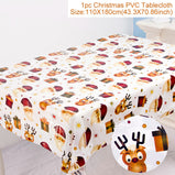 Merry Christmas Table Decor Santa Claus Tablecloth For Home Navidad Ornament Xmas Party Decor