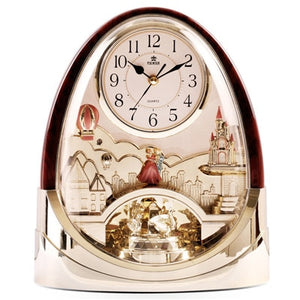 POWER Brand High-end Desk Clock Silent Quartz Movement Table Clock Crystal Masa Saati Saat Light Control Music Hourly Chiming