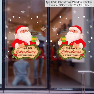 Christmas Window Stickers Santa Claus Snowman Elk Sticker Merry Christmas Decorations for Home Navidad 2021 Happy New Year