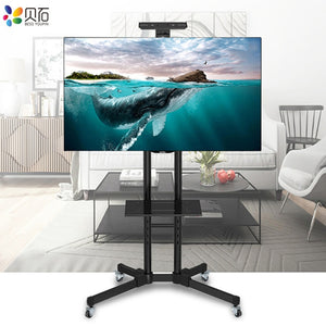 "Universal TV Cart Free Lifting 32""-65""LED LCD Plasma TV Trolley Stand with Mobile Wheels and Adjustable AV Shelf Camera Holder"