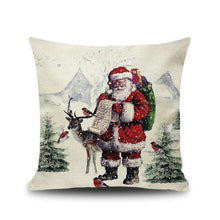 Load image into Gallery viewer, 1Pcs 45*45 Cm Happy New Year Christmas Decorations for Home Cartoon Elk Linen Decorative Pillows Cover Navidad