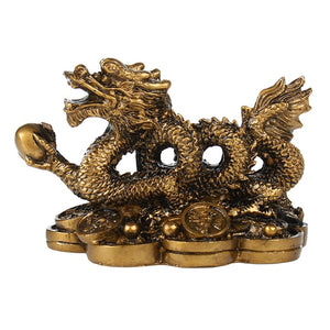 Chinese Golden Dragon statue classical Feng Shui decoration success home crafts decorations Han Long