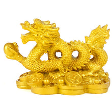 Load image into Gallery viewer, Chinese Golden Dragon statue classical Feng Shui decoration success home crafts decorations Han Long